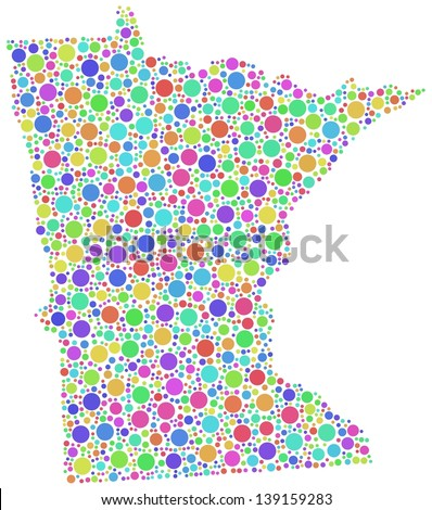 Map of Minnesota (USA) in a mosaic of harlequin circles. White background