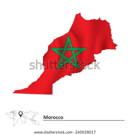 Map of Morocco with flag - vector illustration