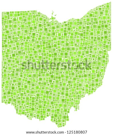 Map of Ohio - USA - in a mosaic of green squares. A number of 4203 little squares are accuately inserted into the mosaic. White background.