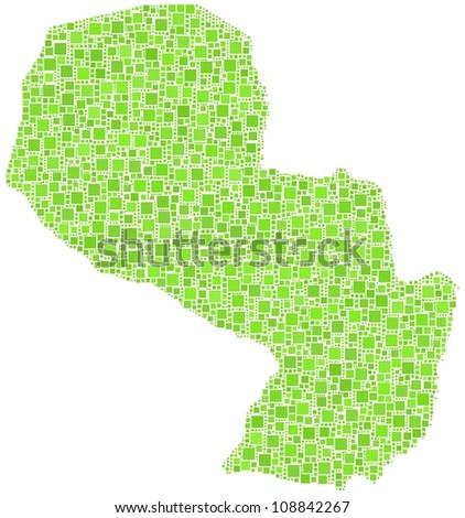 Map of Paraguay - Latin America - in a mosaic of green squares