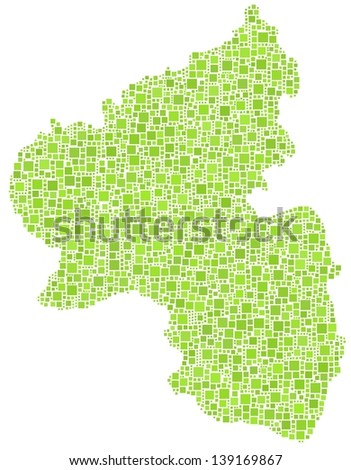 Map of Rhineland Palatinate - Germany - in a mosaic of green squares