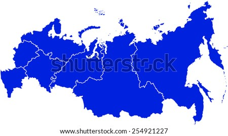 Vector Political Map Russia Districts Stock Vector - Political map of russia