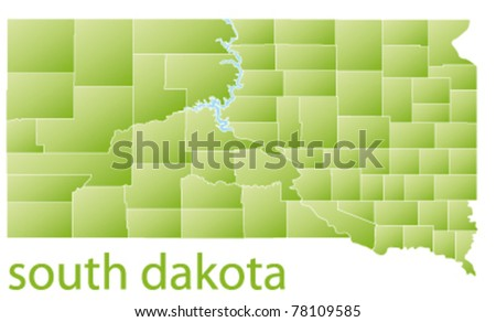 map of south dakota state, usa