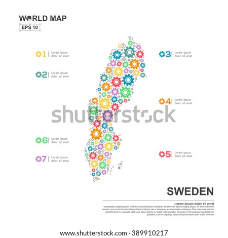 Map Argentina Infographic Design Template Gear Stock Vector - Sweden map template