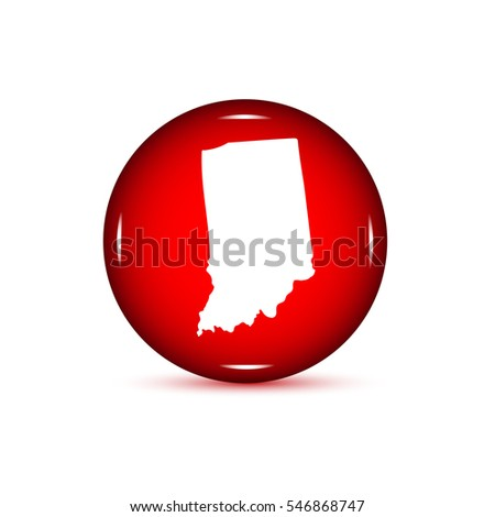 Map Us State Indiana On White Stock Vector Shutterstock - Us map all white red background