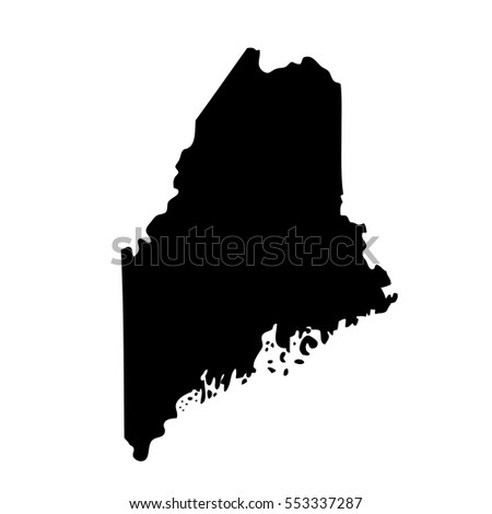 Maine Vector Map Isolated On White Stock Vector - Us map white silhouette