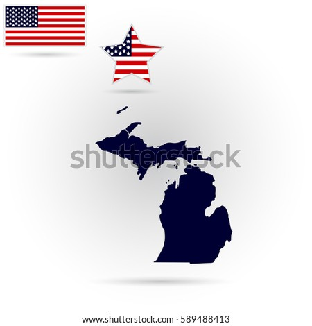 Map Of The U S State Of Michigan On A Gray Background American Flag Star