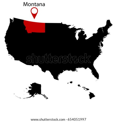Map Us State Montana Stock Vector Shutterstock - Montana in the us map