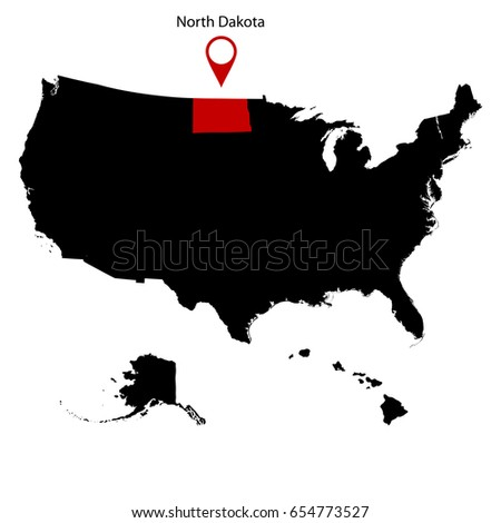Map Us State South Dakota Stock Vector  Shutterstock - Map of the us with dakotas together