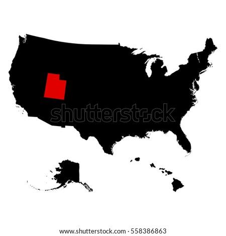 Utah State United States Map Stock Illustration - Utah on a us map