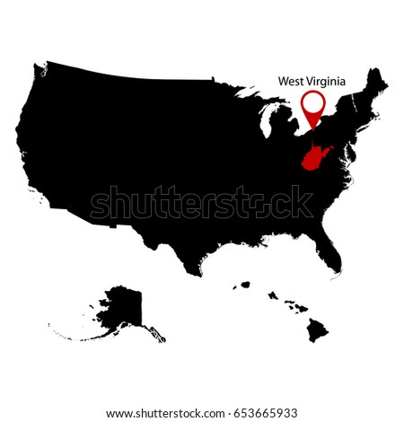 Map Us State West Virginia Stock Vector Shutterstock - West virginia on us map