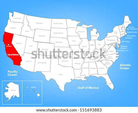 Vector Map United States Highlighting State Stock Vector - Us map with california highlighted