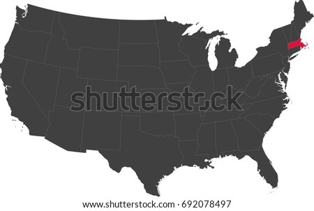 Map United States America Split Into Stock Vector - Us map massachusetts highlighted