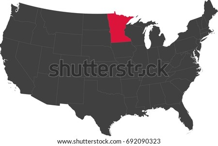 Map United States America Split Into Stock Vector - Map of the us with mn highlighted