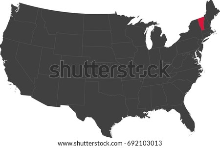 Map United States America Split Into Stock Vector - United states map vermont