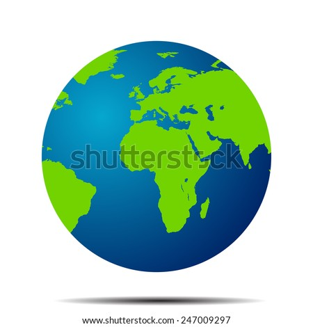 Vector Earth Globe Icon World Map Stock Vector - Globe map of the world