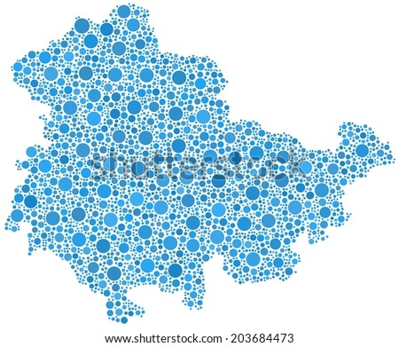 Map of Thuringia - Germany - in a mosaic of blue circles