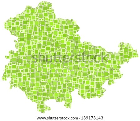 Map of Thuringia - Germany - in a mosaic of green squares