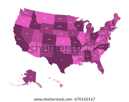 Map Of United States Of America Usa In Four Shades Of Violet With White