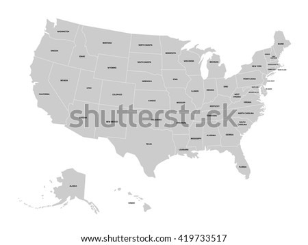 Map United States America Usa Four Stock Vector - Black white map of us with labels