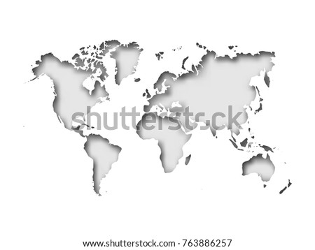 Simplified World Map Divided Six Continents Stock Vector 618386972