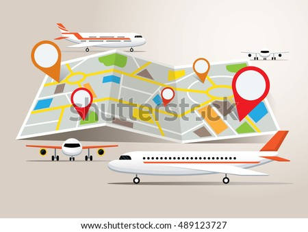Map with Planes and Destination, Travel, Flight and Fly, Transportation