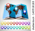 Map world with colorful pin pointers location. Vector illustration 10eps - stock photo