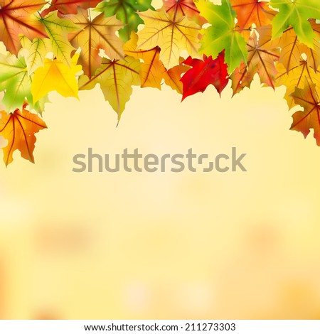 Maple autumn leaves falling down on natural background, vector illustration.