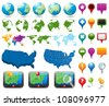 Maps And Navigation Pins - stock vector