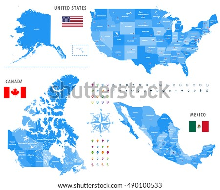 Canada United States Mexico Time Zones Stock Vector - United states location