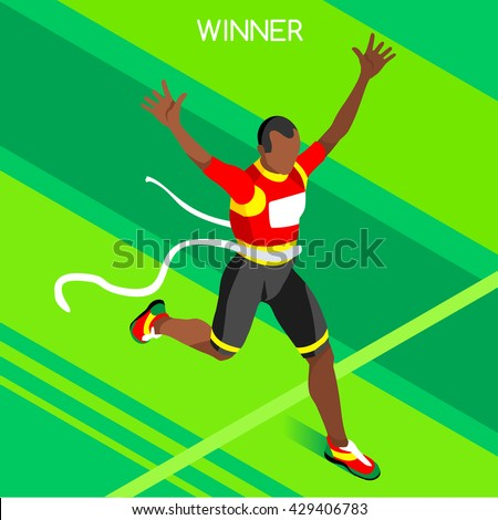 Marathon Finish Line African American Running Man Athletic Sportsman Win Concept. 3D Isometric Winning Athlete. Sport Collection Athletic Sport Competition Infographic olympic Vector People Set