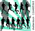 Marathon runners detailed active man illustration silhouettes collection background vector - stock photo