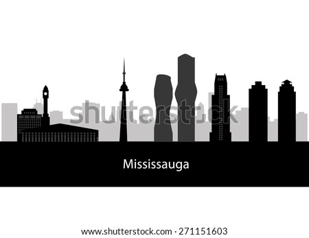 March 20, 2015: Illustration of silhouette of the city of Mississauga, Ontario, Canada.