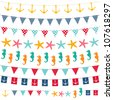 Marine bunting and garland set. Used pattern brushes included. - stock vector