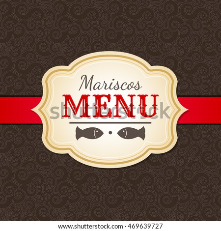Mariscos Menu - Seafood Menu spanish text - vector restaurant menu cover template
