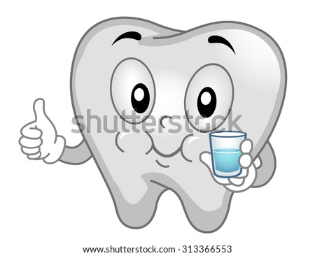 Mascot Illustration of a Tooth Gargling with Mouthwash