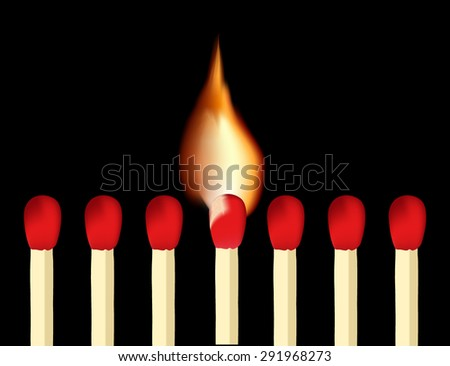 Matches and burning match on  black background.Vector Illustration