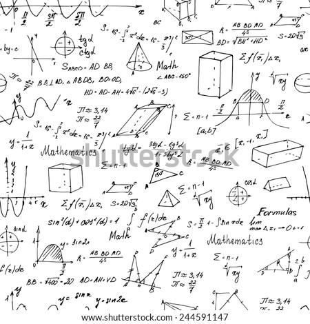 Math Background Trigonometry Formulas White Background Stock ...