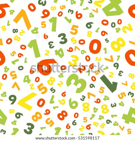 Mathematics background - different numbers in random pattern. Colorful school pattern for children. Multicolor math background for kids, colors red, orange, greenery. Seamless abstract vector pattern