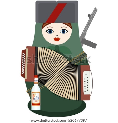 Matryoshka in military uniform. Matryoshka with an accordion, a gun and vodka. The illustration on a white background.