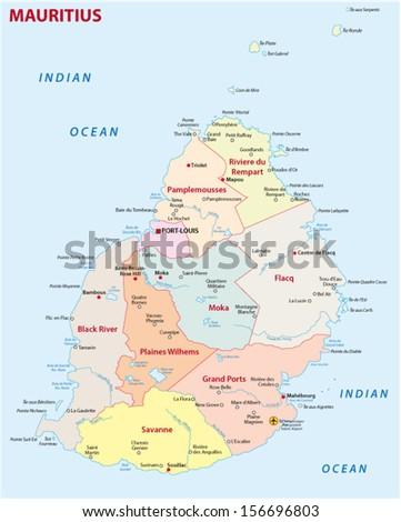 Mauritius Road Map Stock Vector Shutterstock - Map mauritius roads