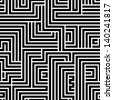 Maze seamless pattern, black and white vector background. - stock photo
