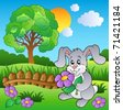 Meadow with bunny holding flower - vector illustration. - stock vector