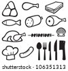 meat icons set, chef hat, knife, fork, spoon and meat cleaver icon (bacon, salami, skewers, shell, fish, sausage, steak, pork leg, ham, meat icons symbols) - stock photo