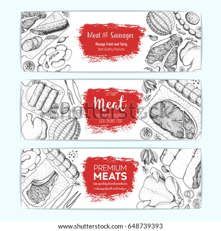 top hand design meat sausages top view frame vector stock vector 648687670
