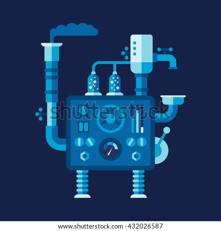 Mechanical device with bathroom fitment and engineering elements. Colored flat vector illustration on dark blue background