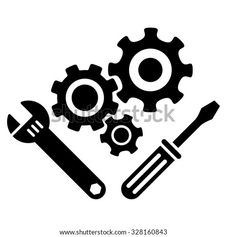 Mechanics Tools vector icon. Style is flat symbol, black color, rounded angles, white background.