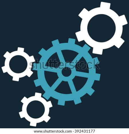 Mechanism vector icon. Picture style is bicolor flat mechanism icon drawn with blue and white colors on a dark blue background.