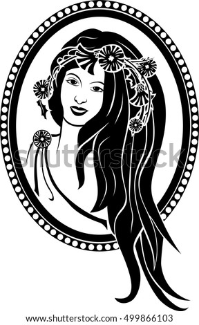 Medallion vignette,  portrait of a girl in a wreath, black stencil second variant