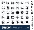Media and social network web icons set. Hand drawn sketch illustration isolated on white background - stock vector